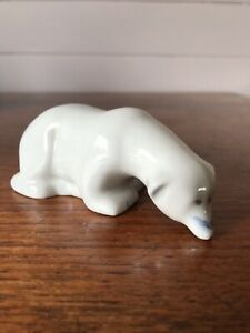 Vintage White Porcelain Polar Bear Sniffing Ground Figurine No Makers Mark