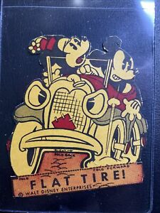 1934 Post Cereal Disney Mickey Mouse Flat Tire! Cut-out