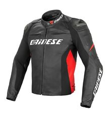 GIACCA DAINESE RACING 3  FORATA PELLE  BLACK BLACK FLUO RED TG.50
