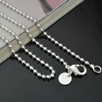 "825 Sterling Solid Silver Bead Chain Necklace For Women Jewelry 2.4mm 16-24"" UK"