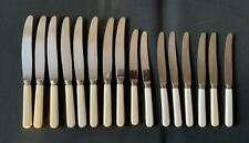 SET OF 16 FAUX BONE HANDLED KNIVES GROSVENOR 1950's 8 LARGE 8 SMALL