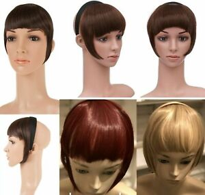 New Ladies Unisex Hair Bang Synthetic Hair Fringe attached Fringe on Headband
