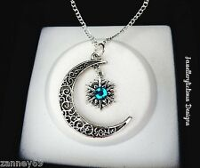 Silver Crescent Moon And Snowflake Blue Rhinestone Pendant Necklace 56cm