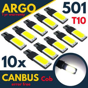 10x 501 Led White T10 Xenon Side light Bulbs W5w Canbus Error Free Wedge Cob 12v