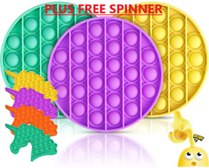 PUSH POP SILICONE SENSORY FIDGET TOY ANXIETY IT STRESS BUBBLE GAME +FREE SPINNER