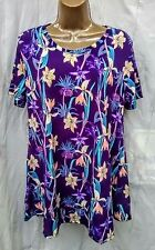 Purple orchids tiered ss top wash n wear beach work casual Jostar USA -2X