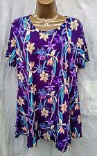 Purple orchids tiered ss top wash n wear beach work casual Jostar USA -M