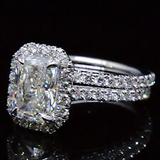 2.20 Ct. Natural Radiant Cut Halo Pave Diamond Engagement Wedding Ring Set GIA