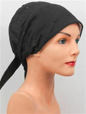 CHEMO Scarf Comfy  BLACK EYELET Turban ALOPECIA Hat Cap Cancer Headcover Beanie