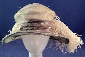Vintage Art Deco Parisian Gray Woven Horse Hair Crinoline Wide Brim Cloche Hat