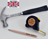 3pcs set Personalised Gift Present Fathers Day Dad Tape Measure Engraved Hammer