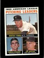 1964 TOPPS #4 FORD/PASCUAL/BOUTON EX AL PITCHING LEADERS   *XR20424