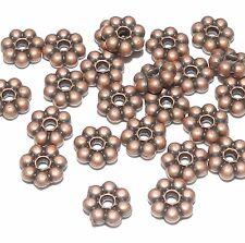 MB33f Antiqued Copper Pewter 6mm Dotted Flower Rondelle Spacer Beads 24/pkg