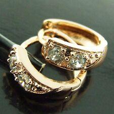 HUGGIE HOOP EARRINGS DIAMOND SIMULATED GENUINE ROSE GOLD G/F ANTIQUE DESIGN