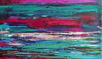 """TABLEAU ABSTRAIT art contemporain PEINTURE paysage signé HZEN, """"AQUATIQUE"""" 27X46"""