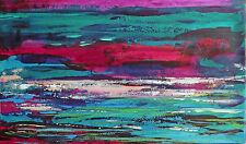 TABLEAU ABSTRAIT art contemporain PEINTURE, paysage de H.ZEN - AQUATIQUE - 27X46