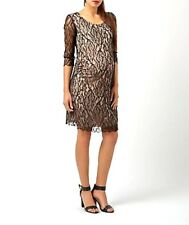 Mama Licious Black Lace & Nude Lining 3/4 Sleeve Stretch Maternity Dress M £42!