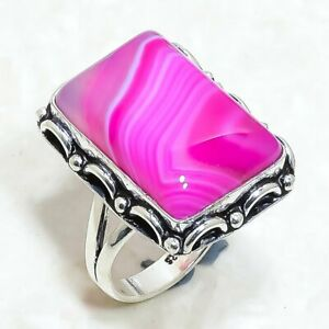 Pink Lace Agate Gemstone Handmade Ethnic Silver Jewelry Ring Size 6.5 RRJ6211