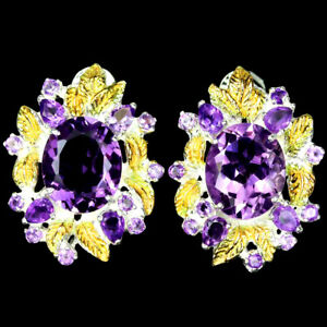 NATURAL AAA PURPLE AMETHYST OVAL & ROUND STERLING 925 SILVER LEAF EARRING
