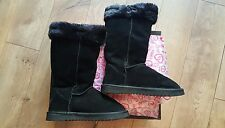 Ukala black mid calf boots JESSICA bootie uede leather wool womens size 6