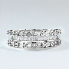 Wedding Band with 1/2 ctw  Round and Baguette Diamonds in 10k White Gold