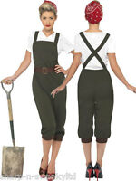 Ladies 1940s WW1 WW2 Land Girl Army Fancy Dress Costume Outfit UK 8-26 Plus Size