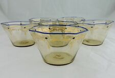 ANTIQUE MOSER BOHEMIAN OPTIC GLASS ENAMEL,GOLD,COBALT BLUE RIM BOWL DISH SET 6