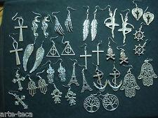 stock 20 coppie orecchini metallo croce ala mano fatima piuma gufo ancora timone