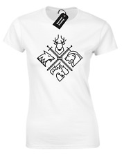 4 HOUSES LADIES T SHIRT GAME OF SNOW JON THRONES DIREWOLF KHALEESI TYRION WOMENS