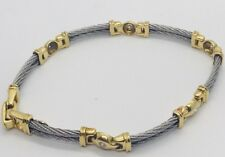 Genuine Philippe Charriol  Diamond 18K Yellow Gold & SS Cable Bracelet.