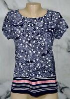 JONES NEW YORK SPORT Navy Blue White Red Star Paisley Stripe T Shirt Top Small