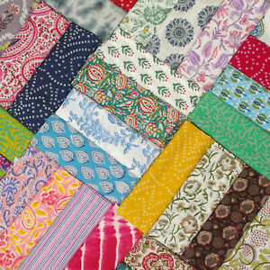 Indian Block Printed Multi Patterns 100% Cotton & Voile Women Dress Fabric Cloth