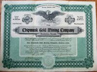 'Chipmunk Gold Mining Company' 1906 Stock Certificate - Manhattan, Nevada NV