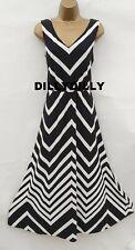 BNWT Monsoon Khloe Black & White Striped Maxi Dress - Sz 12 Summer Coast Cruise