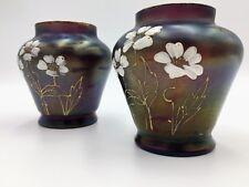 """Rare Pair Loetz """"Rubin Matte Iris""""  Floral Enameled Iridescent Art Glass Vases"""