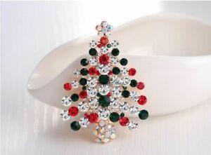 Gold Tone red & green Diamante Crystal Xmas Tree Brooch Pin