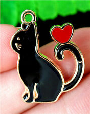Enamel Cat Pendant Bead Ap53531 24x18x1mm Black&Red Alloy Carved Dripping Oil