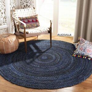 Indian Round Rug 100% Cotton Handmade Home Decor Blue Rug Modern Boho Floor Rug