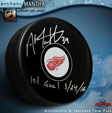 """ANTHONY MANTHA Signed Detroit Red Wings Puck Inscribed """"1st Goal 3/24/16"""""""