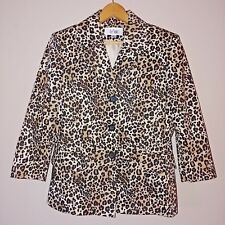 "Le Suit Leopard Print Blazer Jacket Black Brown Cream 3/4"" Sleeve Women's Size 8"