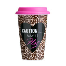 Leopard Travel Coffee Mug Double Walled Porcelain & Silicone 330ml Tea Cup