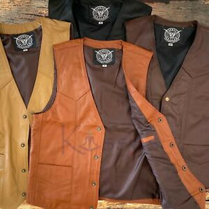 NEW Soft Leather Vest Genuine Cowhide Outback Biker Western Cowboy Mexico Unisex