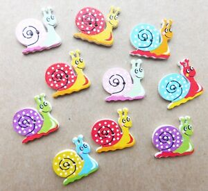 10 x SNAIL Buttons, Wooden, Mixed Colours, NEW, 26mmx23mm, 2 holes, Craft, hobby