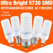10X Bright 5730 LED Corn Bulb Lamp Light Milky White 110/220V E27 B22 G9 E12 E14