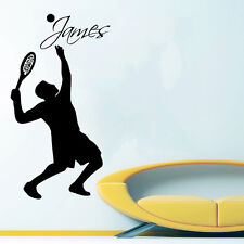 Tennis Wall Decal Boy Personalized Name Sticker Tennis Player Bedroom Decor KI50