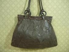 J.JILL BROWN Leather FLORAL Embossed Shoulder Satchel Slouchy Tote Handbag Purse
