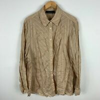 Maggie T Womens Blouse Top Plus Size 24 Brown Striped Long Sleeve Collared