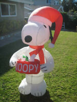 5' Gemmy Airblown Peanuts Santa Snoopy Christmas Inflatable Yard Decoration