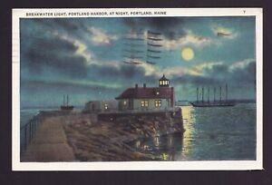 Old Vintage Postcard BREAKWATER LIGHT PORTLAND HARBOR AT NIGHT PORTLAND Maine