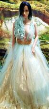 Tiffany Blue Gold Lame' Lace Tulle Garden Nymph Babydoll Wedding Bridal Ballgown